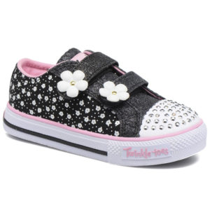 SKECHERS Twinkle Toes Darling Daisy Black/Pink Size UK C5 (22)