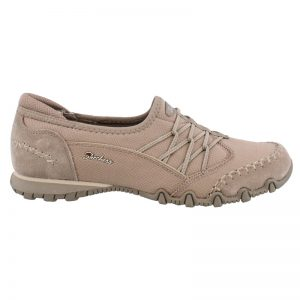 SKECHERS Women  Double Digits Oxford Bikers Shoes Dark Taupe UK6