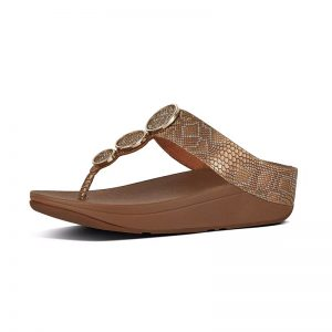 FITFLOP HALO Snake-Print Leather Toe-Thongs Bronze UK 5 / EU 38