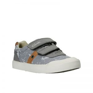 CLARKS Comic Zone Jr. Grey Canvas 13F