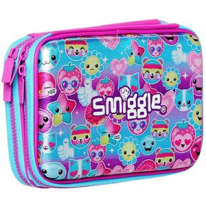 SMIGGLE Says Double Up Hard Top Pencil Case Purple