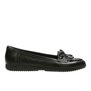 CLARKS Feya Bloom Black Leather Size UK5.5D