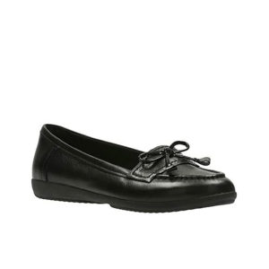 CLARKS Feya Bloom Black Leather Size UK5.5D