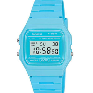 CASIO Blue Digital Watch with Resin Strap F-91WC-2AEF BLUE
