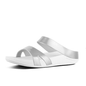 FITFLOP Ringer Jelly Slide Sandals Metallic Silver UK 5 / EU 38