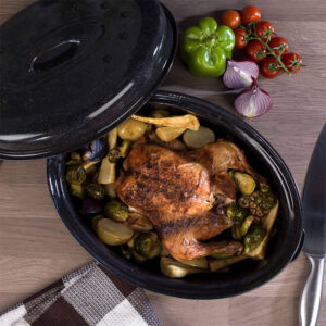 RUSSELL HOBBS Enamel Self Basting Roaster with Lid 36 cm Black