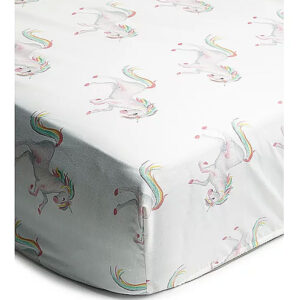 GEORGE White Unicorn Print Easy Care Fitted Sheet