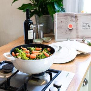 ARGON Cast Iron Casserole Dish Dutch Oven 3.5L- Cream