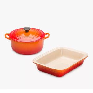 LE CREUSET Cast Iron Casserole & Stoneware Dish Set (2 Piece Set ) – Volcanic