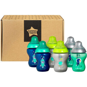TOMMEE TIPPEE Closer to Nature Decorated Baby Bottles Set of 6 piece – Blue