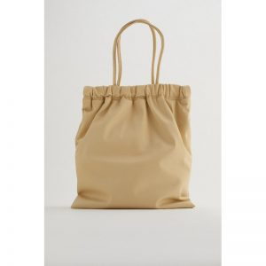 ZARA Tote Bag With Gathered Opening Beige