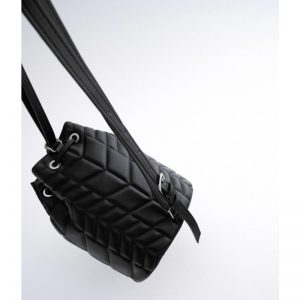 ZARA Quilted Bucket Bag Backpack Black
