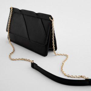 ZARA Minimalist Crossbody Bag With Chain Black