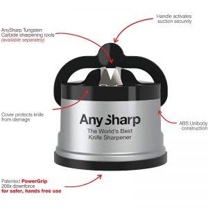 ANYSHARP World's Best Knife Sharpener with PowerGrip – Silver