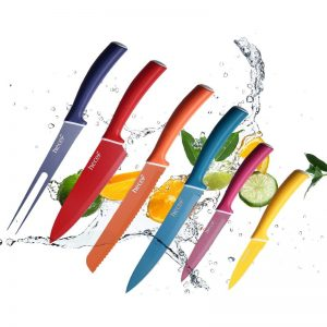 HECEF Stainless Steel Non Stick Colourful Knives Set of 6