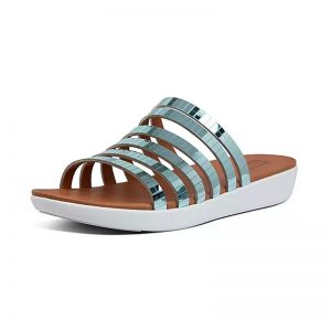 FITFLOP LOLA Mirror-Strap Slides Sea Blue Metallic UK 4 / EU 37