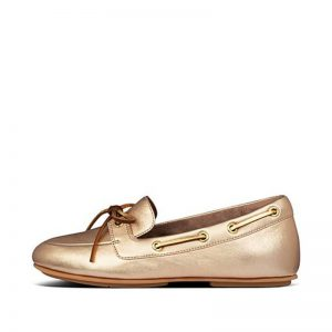 FITFLOP CORA Leather Lace-Up Boat-Style Shoes Vintage Gold UK 4 / EU 37
