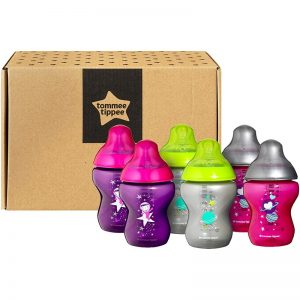 TOMMEE TIPPEE Closer to Nature Decorated Baby Bottles Set of 6 piece – Pink