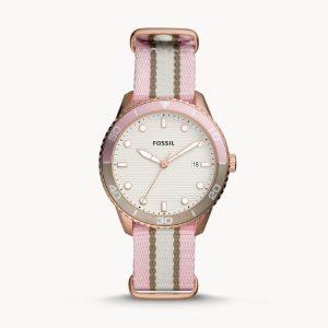 FOSSIL Dayle Three-Hand Date Two-Tone Nylon Watch BQ3630